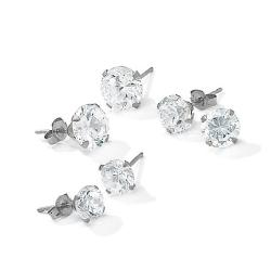 PalmBeach 5.15 TCW Round Cubic Zirconia 10k White Gold Stud 3-Pairs Earrings Set Classic CZ