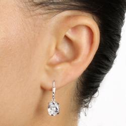 PalmBeach 8.08 TCW Cubic Zirconia Platinum over Sterling Silver 2-Pairs Drop Earrings Set Classic CZ