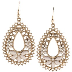 Goldtone Created Moonstone Filigree Fashion Earrings