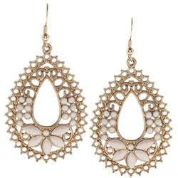 Goldtone Created Moonstone Filigree Fashion Earrings