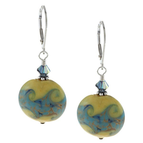 Lola's Jewelry Sterling Silver Yellow Ceramic and Crystal Earrings