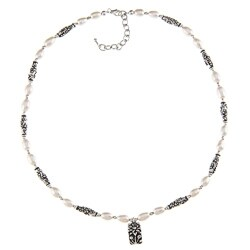 Charming Life Pewter White FW Pearl and Lotus Charm Necklace (7-8 mm)