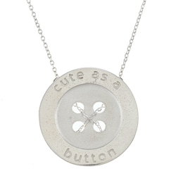 White Trash Charms Sterling Silver Large 'Cute as a Button' Necklace