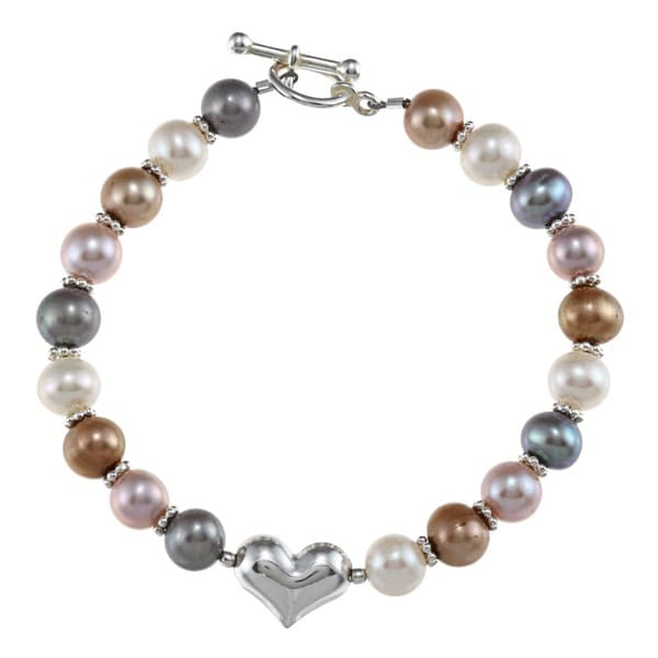 Lola's Jewelry Silver Multi-colored FW Pearl Heart Bracelet (6-7 mm)