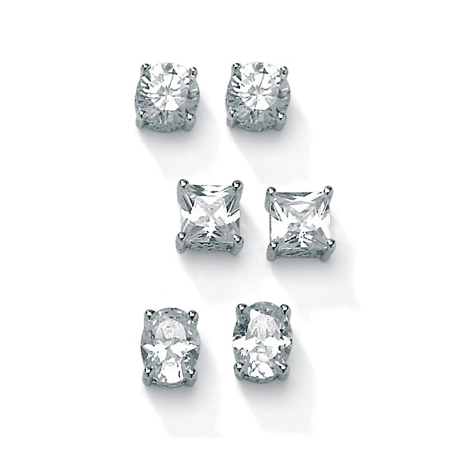 7.32 TCW Cubic Zirconia 3-Pair Earrings Set Platinum over .925 Sterling Silver Classic CZ