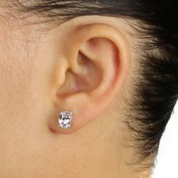 7.32 TCW Cubic Zirconia 3-Pair Earrings Set Platinum over .925 Sterling Silver Classic CZ - Thumbnail 2
