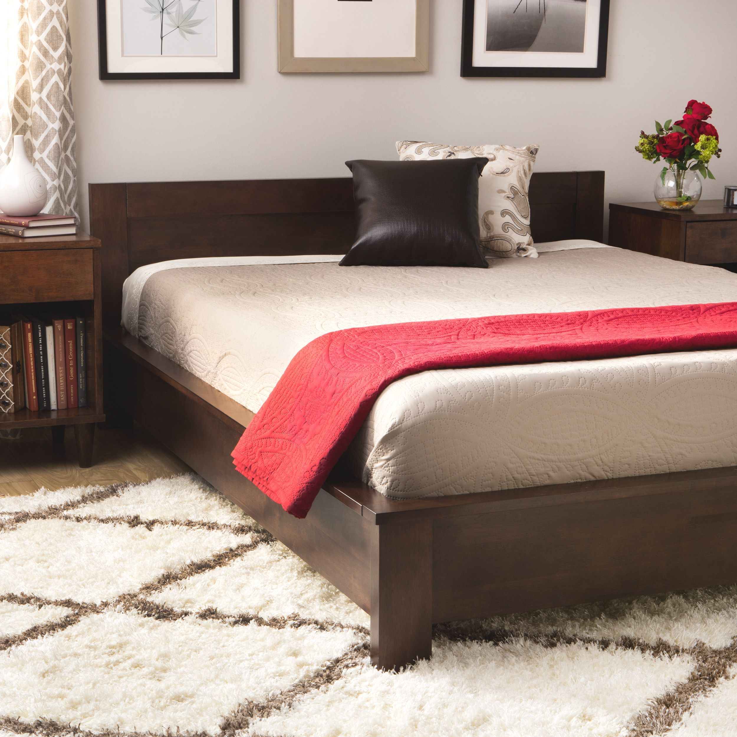 Strick & Bolton Alsa Deep Brown King Platform Bed