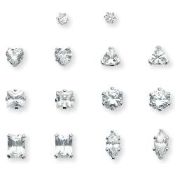PalmBeach 8 TCW Cubic Zirconia 7-Pair Set of Multi-Cut Stud Earrings Set in Platinum over Sterling Silver Classic CZ