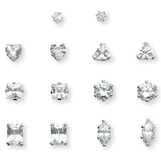 8 TCW Cubic Zirconia 7-Pair Set of Multi-Cut Stud Earrings Set in Platinum over Sterling S