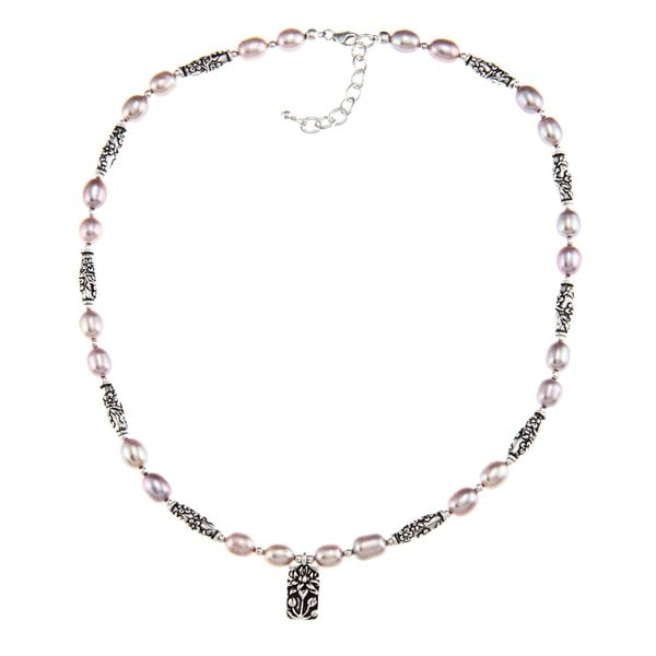 Lola's Jewelry Pewter Pink Pearl and Lotus Charm Necklace (7-8 mm)