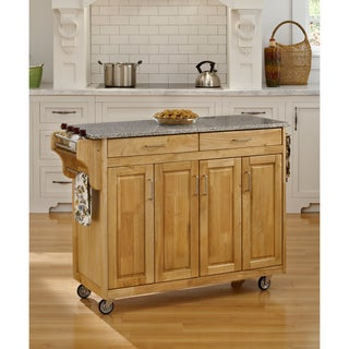 Gracewood Hollow Defoe Natural Granite Top Kitchen Cart