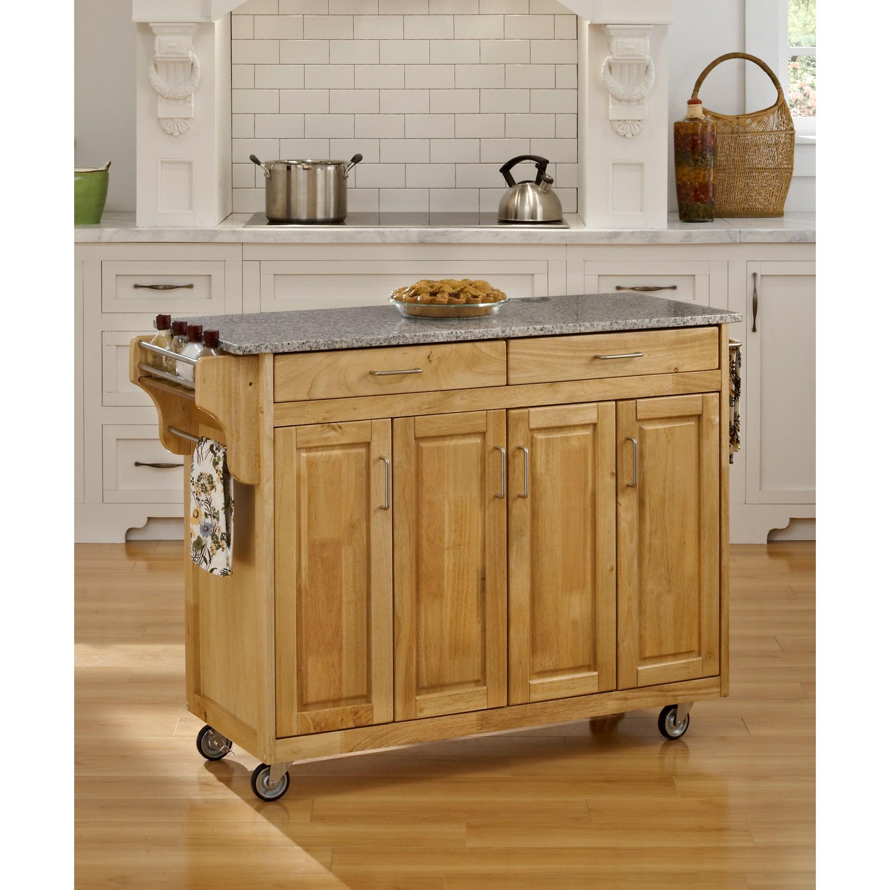 Island Natural Granite Top Kitchen Cart