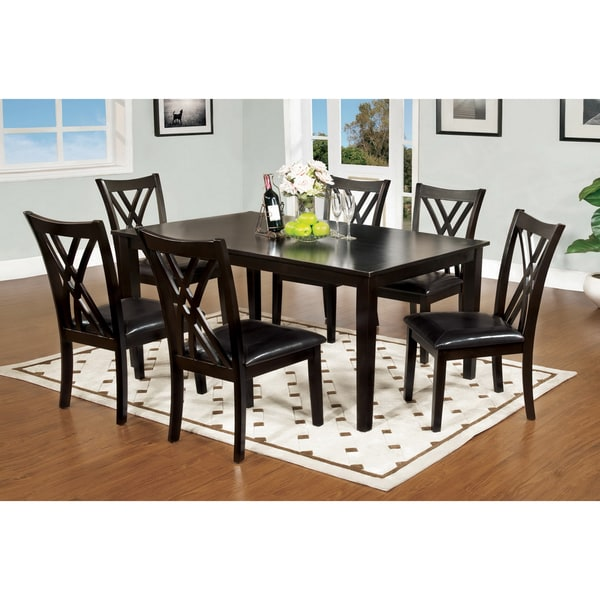 Furniture Of America Sophala Contemporary 7 Piece Espresso Finish Dining Set