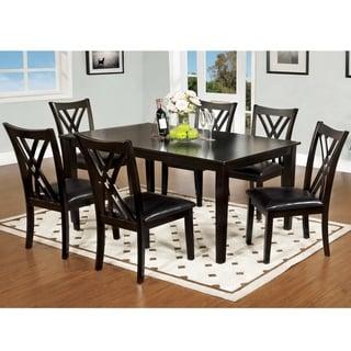 Furniture of America Talt Modern Brown Solid Wood 7-piece Dining Set