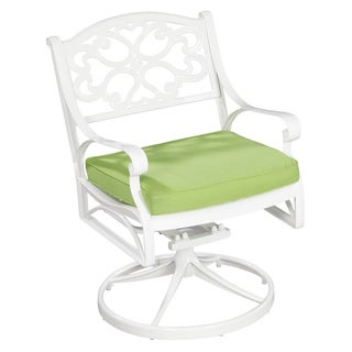 Home Styles Biscayne White Swivel Chair with Cushion