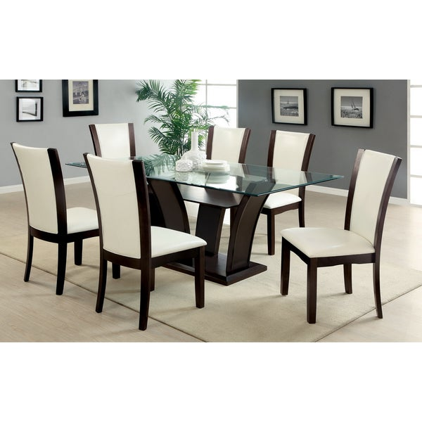 Furniture Of America Marion Rectangular Glass Top Dining Table   Free  Shipping Today   Overstock.com   14182309