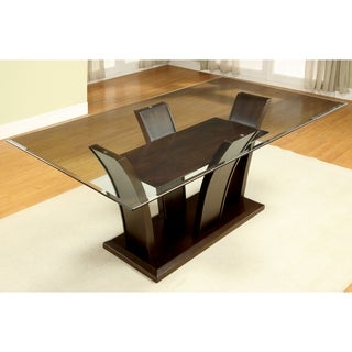 Furniture of America Marion Rectangular Glass Top Dining Table - Dark Cherry