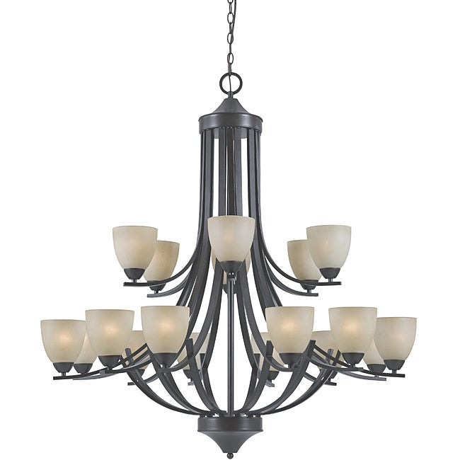 Transitional 18-light English Bronze Chandelier