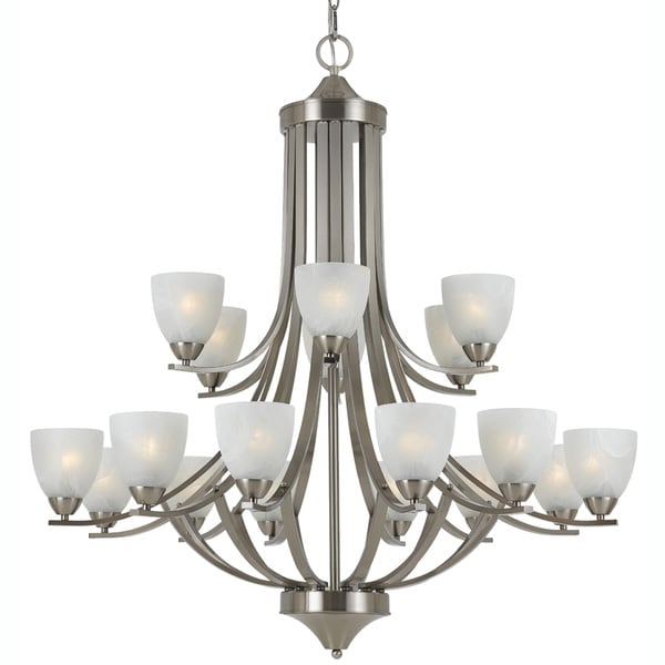 Transitional 18-light Satin Nickel Chandelier