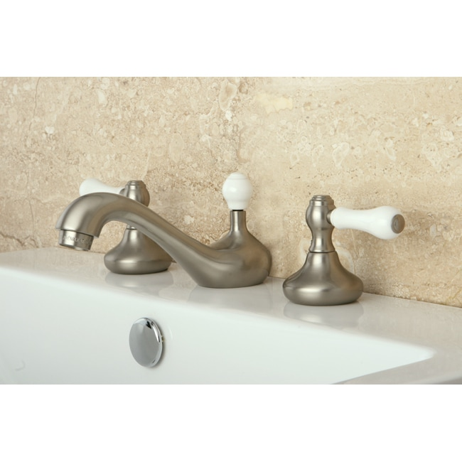 Shop satin nickel widespread three hole bathroom faucet on sale free shipping today for Satin nickel widespread bathroom faucet