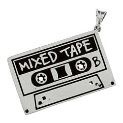 White Trash Charms Sterling Silver 2D Cassette Tape Necklace