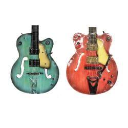 Strings Rock The World Metal Guitar Wall Art Decor (Set of 2) - Thumbnail 1