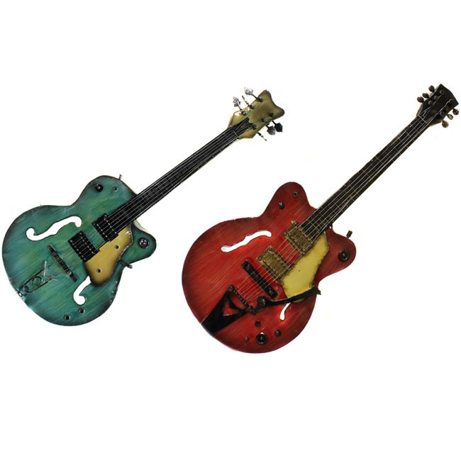 Strings Rock The World Metal Guitar Wall Art Decor Set Of 2