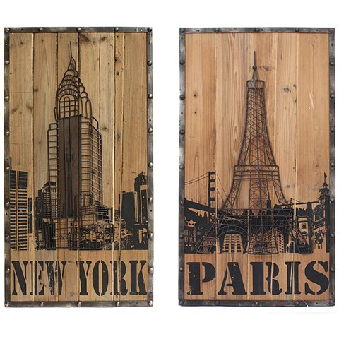 Casa Cortes New York/ Paris Connection Wall Art (Set of 2)