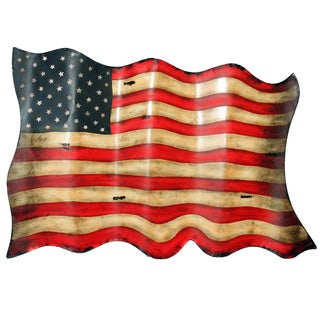 Americana Antique-style American Flag Metal Wall Decor
