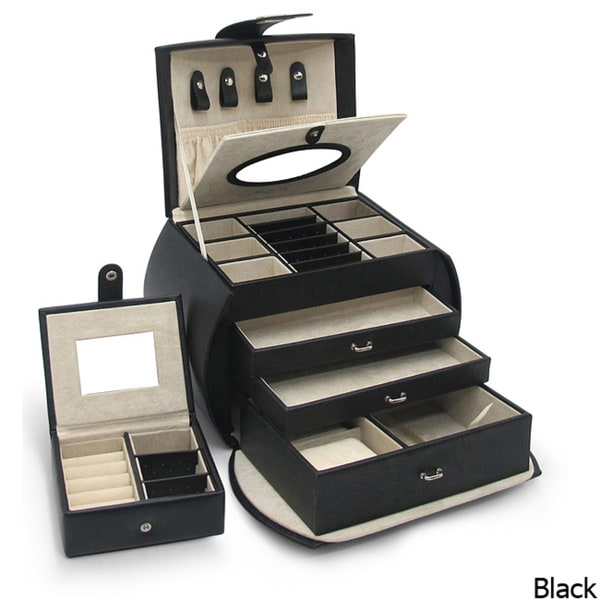 Morelle 'Diana' Black Leather Jewelry Box with Takeaway Case