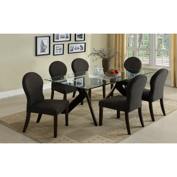 Furniture of America Parker 7-piece Glass Top Espresso Finish Dining Set