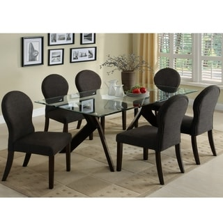 Parker Modern Espresso 7-piece Glass Top Dining Set by FOA