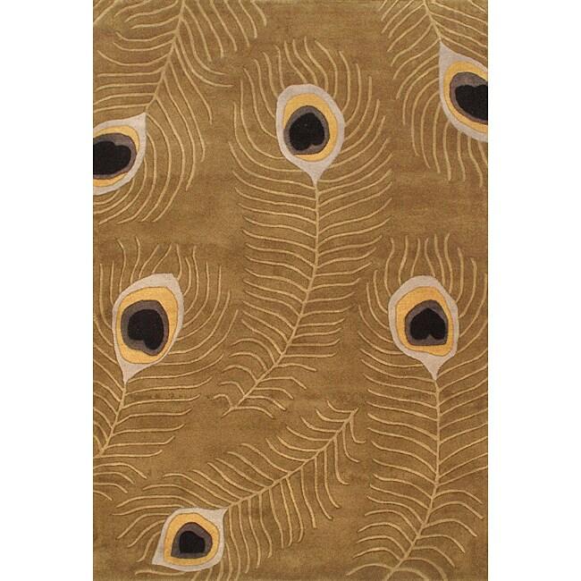 Hand-tufted Spectra Wool Khaki Rug (6'7 x 10')