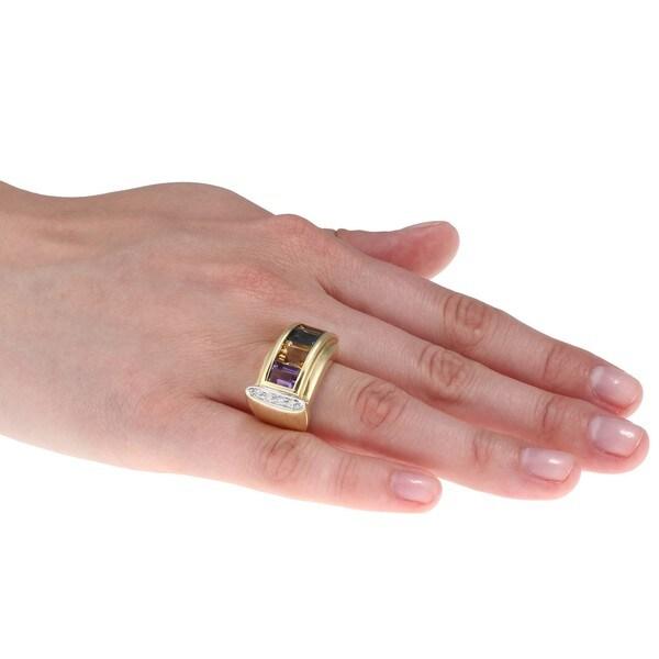 14k Gold Multi-gemstone and 1/5ct TDW Diamond Estate Ring (H-I, SI1-SI2)