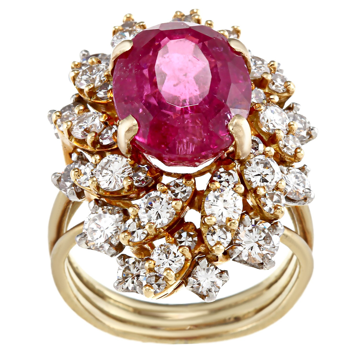 Pre-owned 18k Gold Rubalite and 4/5ct TDW Diamond Estate ...