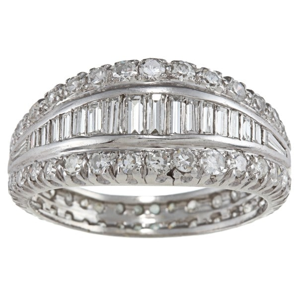 Platinum 2ct TDW Diamond Graduating Estate Eternity Band (I-J, VS1-VS2)