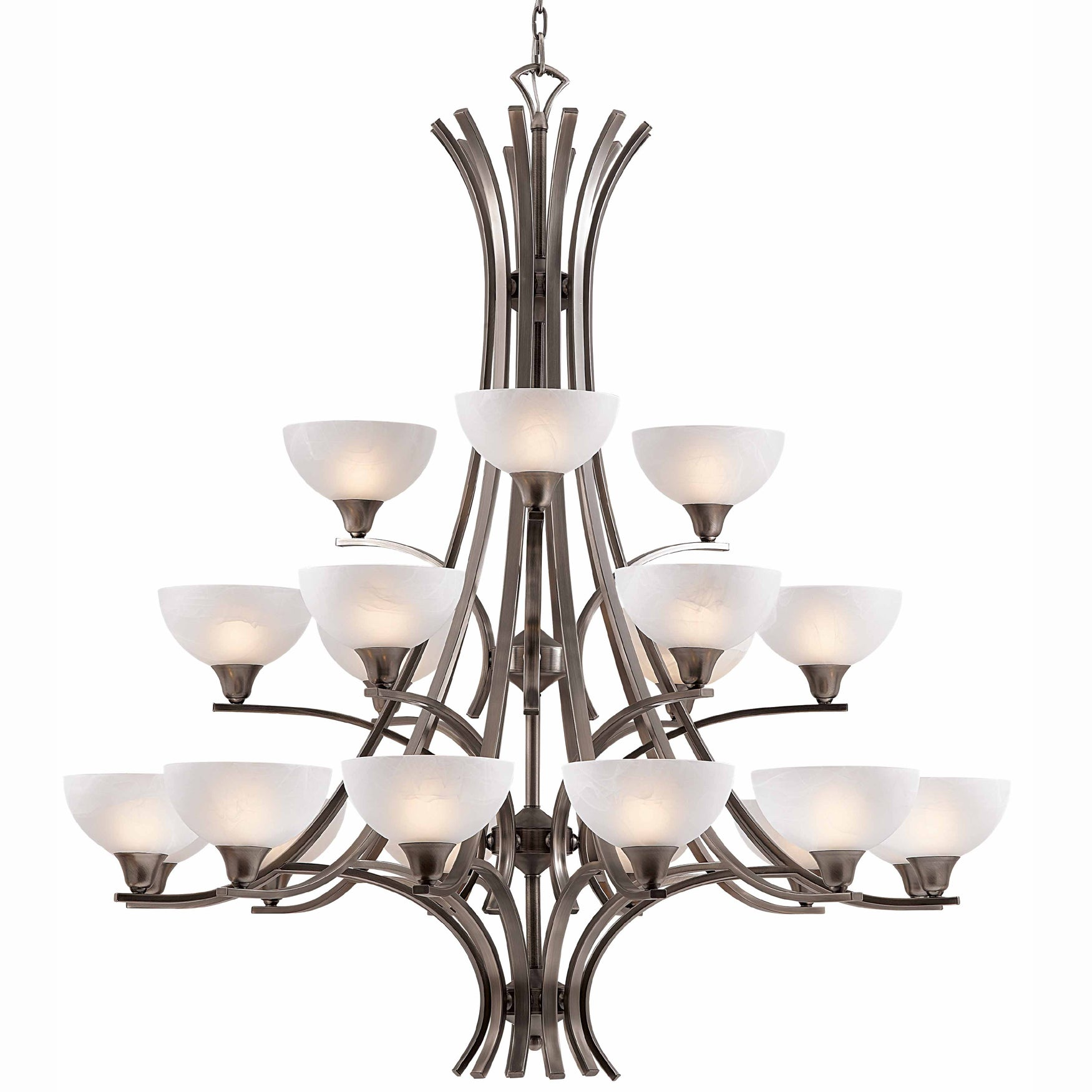 Luxor 21-light Antique Brushed Steel Chandelier