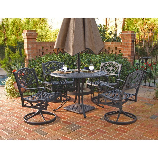Biscayne Cast Aluminum Black 5 Piece Patio Dining Set By Home Styles