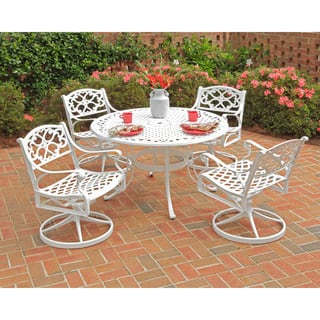 Biscayne 5-piece 48-inch White Cast Aluminum Patio Dining Set by Home Styles|https://ak1.ostkcdn.com/images/products/6614292/Biscayne-5-piece-48-inch-White-Cast-Aluminum-Patio-Dining-Set-P14182680.jpg?impolicy=medium