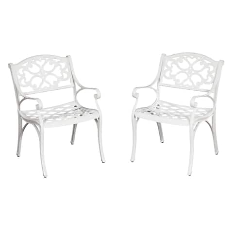 Biscayne Cast Aluminum White Outdoor Arm Chairs (Set of 2) by Home Styles