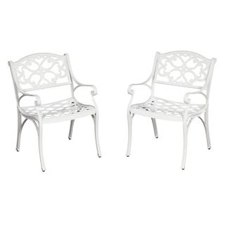 Home Styles Biscayne Cast Aluminum White Outdoor Arm Chairs (Set of 2)