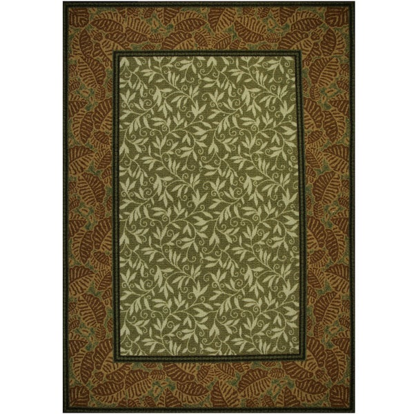 somette tufted sisal printed sage rust indoor outdoor area rug 5 39 x 7