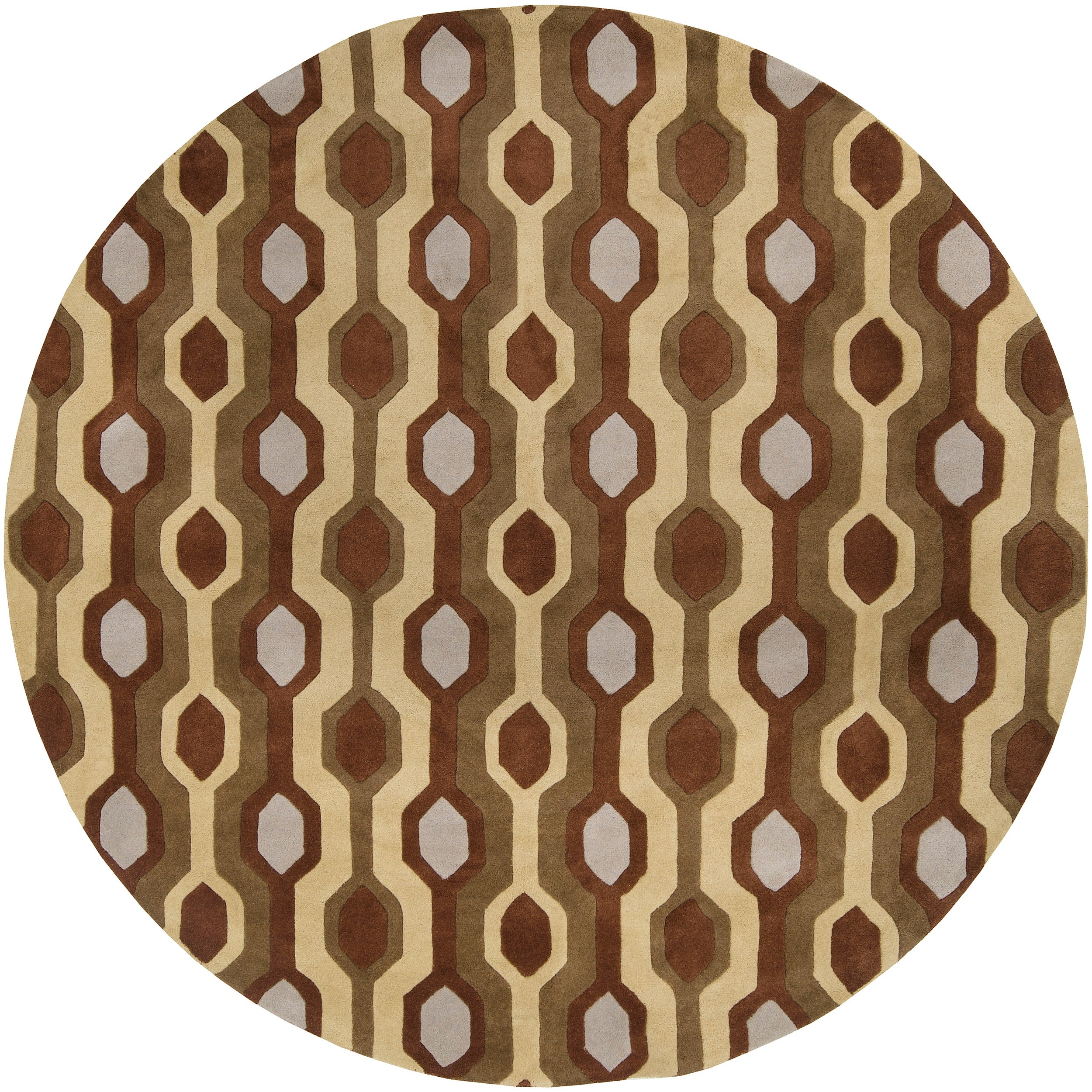 Hand-tufted Brown Contemporary Breaux Wool Geometric Rug (6' Round)