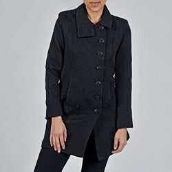 Women's Plus Black Cotton/ Poly Short Coat