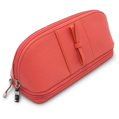 Morelle & Co 'Rachel' Coral Leather Cosmetic/ Jewelry Case