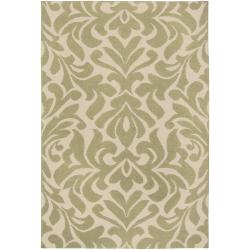 Hand-woven Green Market F Wool Rug (5' x 8')