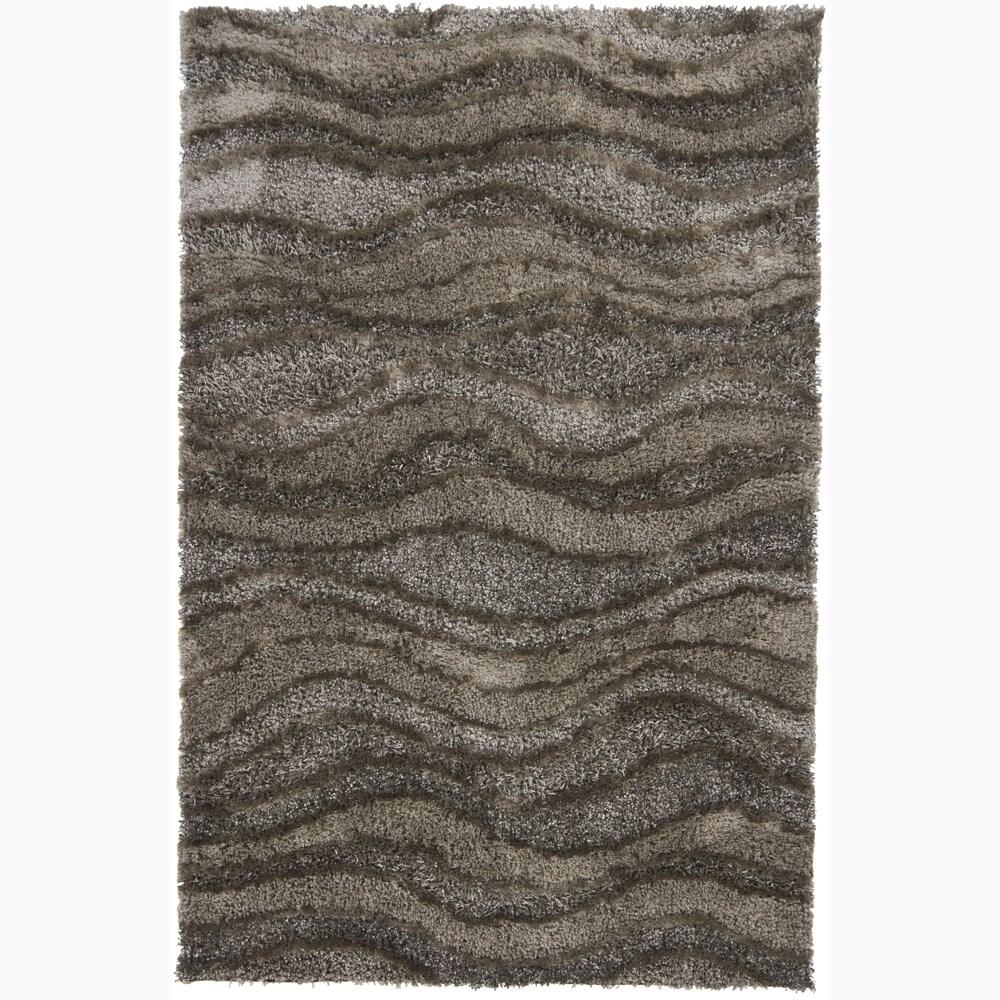 Hand-woven Mandara Dark Grey Shag Rug (7'9 x 10'6) - 7'9 x 10'6