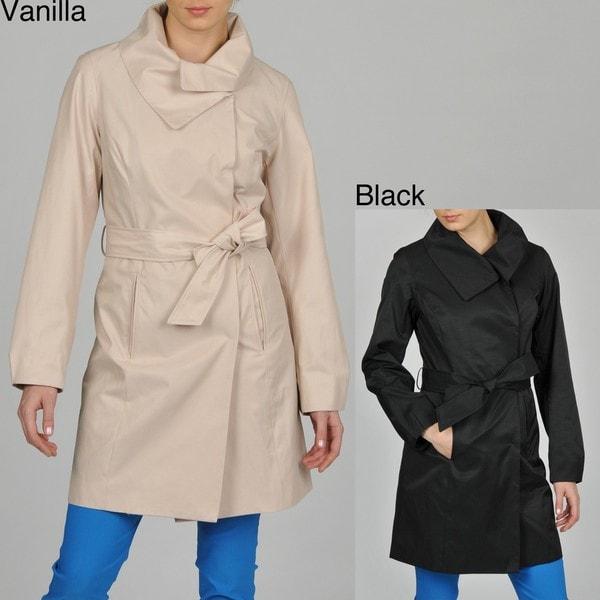 Hilary Radley Women's Envelope Collar Belted Trench