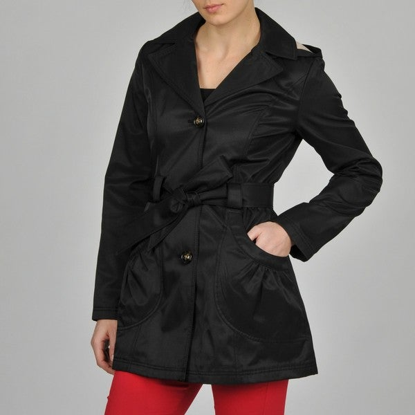 Esprit Women's Ruffle Pocket Belted Hooded Trench