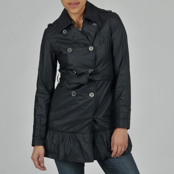 Buffalo Women's Double Breasted Ruffle Bottom Belted Trench